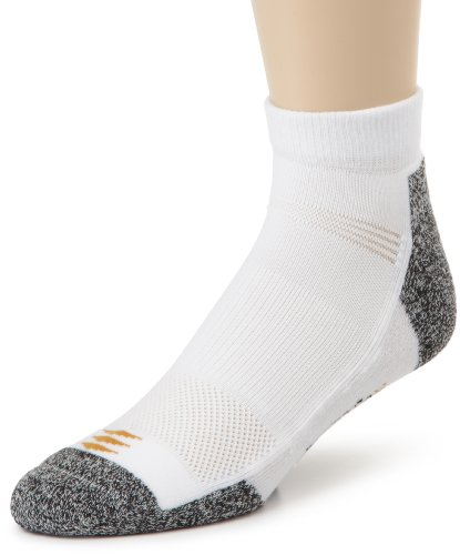 PowerSox Men's Powerlites Lo Cut 3 Pack, White, 10-13