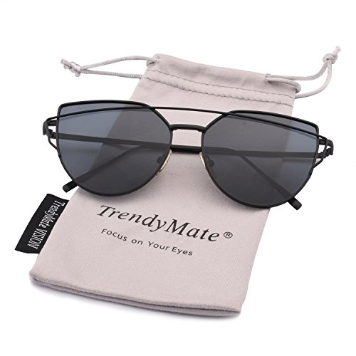 TrendyMate-Womens Street Fashion Metal Twin Beam Flat Mirror Lens Cat Eye Sunglasses … (Black/Grey, 57mm)