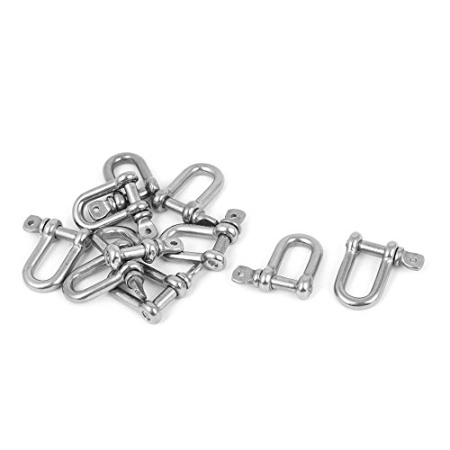 Wire Rope Fasteners (uxcell 10PCS Stainless Steel Wire Rope Fastener Bow D Shackles 4mm Thread)