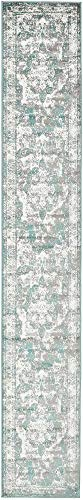 Unique Loom 3137826 Sofia Collection Traditional Vintage Beige Area Rug, 2' x 13' Runner, Turquoise (Turquoise Stair Carpet)