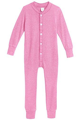 (City Threads Big Boys Girls' Union Suit Thermal Underwear Set Long John Onesie Footie Perfect Sensitive Skin Sensory Friendly SPD, Medium Pink, 16 )