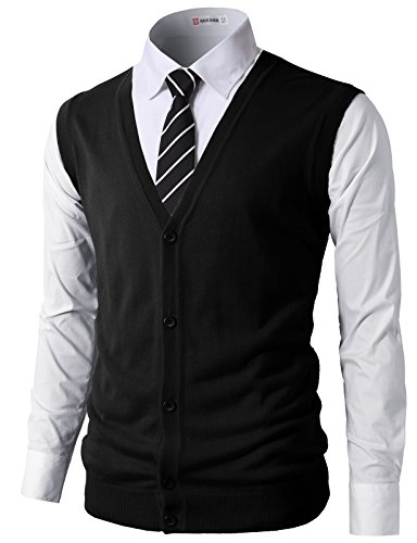 (H2H Mens Active Slim Fit Knitted V-Neck Button-Down Vests Black US XL/Asia 2XL (CMOV038))