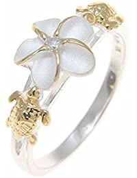 Sterling silver 925 Hawaiian plumeria flower cz turtle ring 2 tone yellow gold plated size 3 to 13
