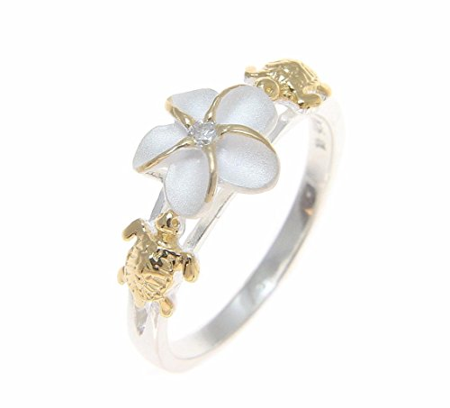 Sterling silver 925 Hawaiian plumeria flower cz turtle ring 2 tone yellow gold plated size 8