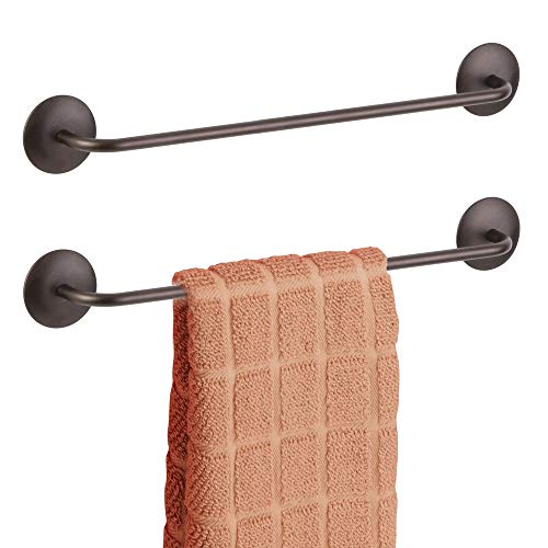 mDesign Decorative Metal Large Towel Bar - Strong Self Adhesive - Storage and Display Rack for Hand, Dish, and Tea Towels - Stick to Wall, Cabinet, Door, Mirror in Kitchen, Bathroom - 2 Pack - Bronze