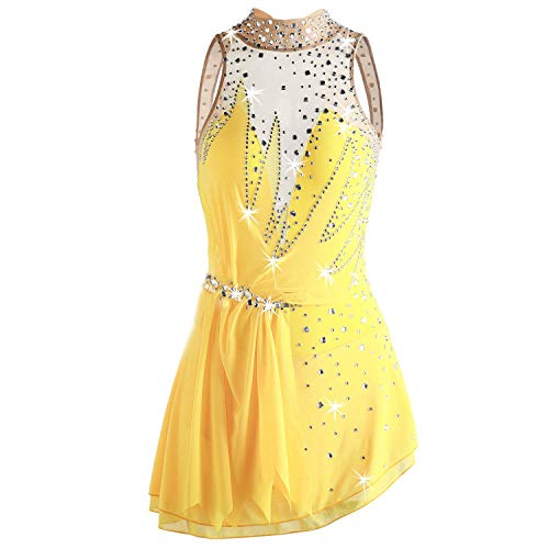 WANGYONGQI Figure Skating Dress for Girls, Handmade Ice Skating Competition Professional Costume with Crystals Crew Neck Sleeveless Roller Skating Dress Yellow,16 ()