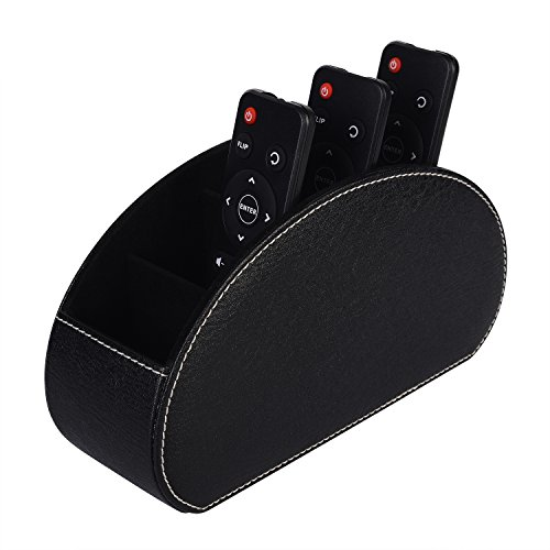 LOKHO PU Leather Remote Control/Controller Organizer,TV Guide/Mail/Media Desktop Organizer Caddy Holder,Key Organizer(Black)
