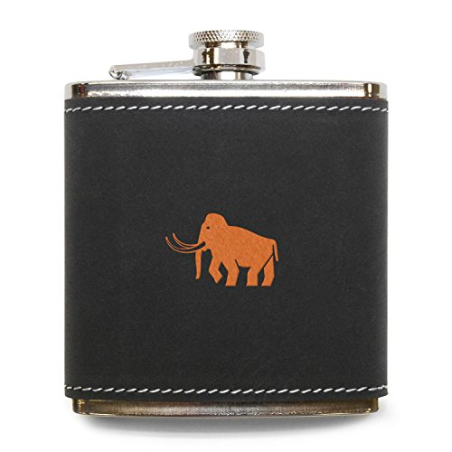 MODERN GOODS SHOP Mammoth Flask - Stainless Steel Body With Grey Leather Cover - 6 Oz Leather Hip Flask - Made In -