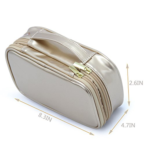 MONSTINA Cosmetics Bag,Double Layer Makeup Bag,Beauty Makeup Brush Bags Travel Multi-functional Kit Organizer For Women(Champagne Gold) by MONSTINA (Image #3)
