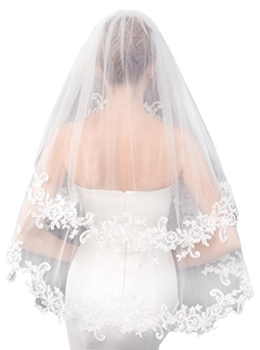 EllieHouse Women's Short 2 Tier Lace White Wedding Bridal Veil With Comb L24WT (Veil White Bridal)