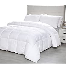 Equinox Comforter - (350 GSM) White Alternative Goose Down Duvet (King) - Hypoallergenic, Plush 350GSM Siliconized Fiberfill, Box Stitched, Protects Against Dust Mites and Allergens