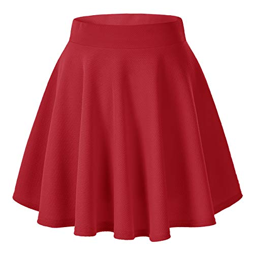 Women's Basic Versatile Stretchy Flared Casual Mini Skater Skirt (Medium, Red)