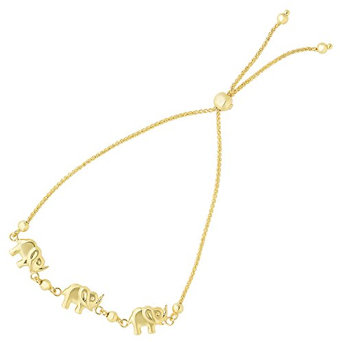 Elephant Charms Theme Bolo Friendship Adjustable Bracelet In 14K Yellow Gold, 9.25