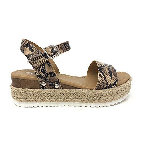 - SODA Clip Topshoe Avenue Women's Open Toe Ankle Strap Espadrille Sandal (6.5 M US, NAT Pyth)