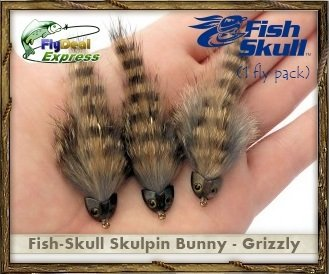 FlyDeal Fishing Flies FISH-SKULL SKULPIN BUNNY GRIZZLY - Streamer (1-fly) -