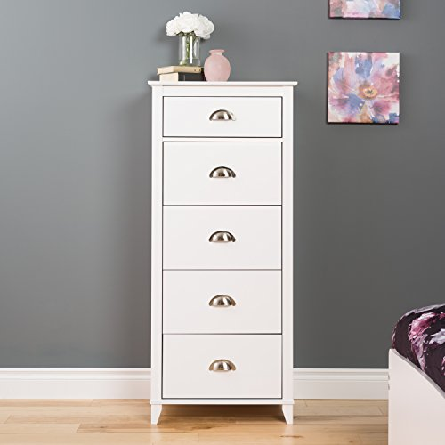 Prepac Yaletown 5 Drawer Tall Chest, White -