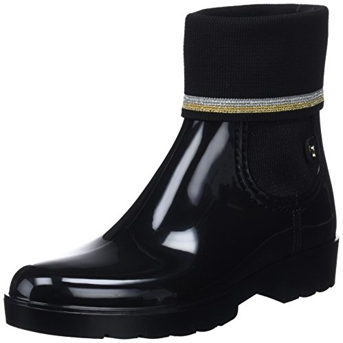 Boot Sock 990 Noir Bottes Tommy Pluie Knitted black Bottines amp; De Hilfiger Rain Femme OFE1qwxI