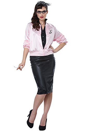 California Costumes Women's 50'S Satin Varsity Jacket Adult Woman Costume, Pink, Small