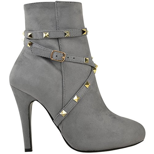 Ankle Grey Strap Faux Stilettos Womens Heel Party Boots Fashion Studded Suede Thirsty High Size Pt8g7qax