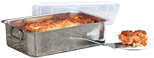 - 4 Piece Cover & Spatula Stainless Steel Lasagna Roaster Serving Pan 14 Inch