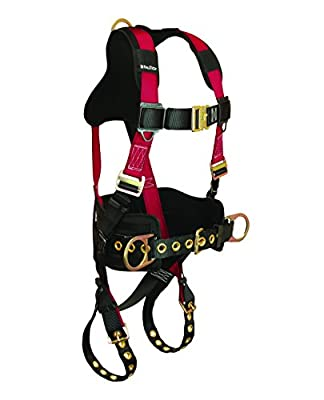FallTech Tradesman+ Belted Full Body Harness, 3 D-Rings, TB Legs/MB Chest, Tri-Layer Air Mesh Yoke/Waist Pad, Red