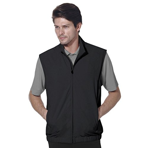 Monterey Club Mens Classic Lightweight Zip Front Solid Vest #1961 (Black, Large)
