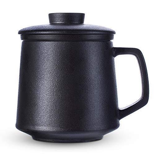 SULIVES Ceramic Tea Mug with Infuser and Lid, 14 OZ Tea Brewing Cup with Porcelain Strainer Basket for Loose Leaf Tea Maker, Green Tea, Steeping, Lotus or Gift for Tea Lover (Black)