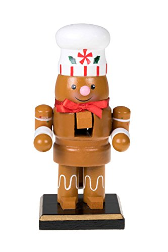 Clever Creations Traditional Christmas Chubby Gingerbread Man Nutcracker Wearing White Chef