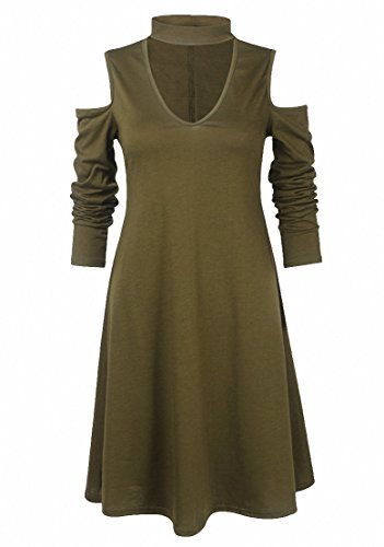 Vestido De Fiesta Moda Corto Vestidoes Manga Corta Mini Vestido Camisa Para Mujer Verde