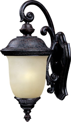 Maxim 86596MOOB Carriage House EE 1-Light Outdoor Wall Lantern, Oriental Bronze Finish, Mocha Glass, GU24 Fluorescent Fluorescent Bulb , 60W Max., Damp Safety Rating, Standard Dimmable, Glass Shade Material, 1344 -