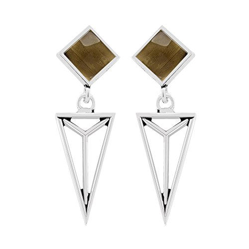 2.30ct, Genuine Cabochon Smoky Quartz & 925 Silver Plated Dangle Earrings (Cabochon Smoky Earrings)