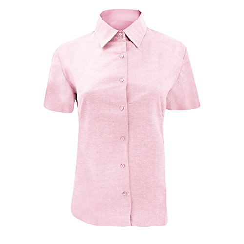(Russell Collection Ladies/Womens Short Sleeve Easy Care Oxford Shirt (S) (Classic Pink))
