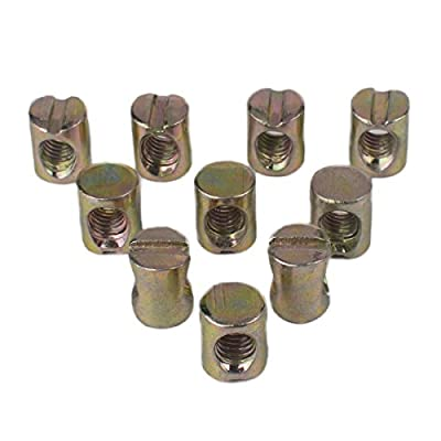 Flammi 10pcs M6 Barrel Nuts Cross Dowels Slotted Nuts for Furniture Beds Crib Chairs