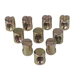 Flammi Metric M6 Barrel Nut Size details: Inner diameter/threaded hole diameter: 5.35mm Thread pitch:1mm Outer diameter: 10mm Total length:12mm Material: Carbon steel Package Content: 10pcs M6 slotted barrel nut Application: Widely used in th...