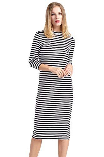 Sosolism Maternity Nursing Dress Zipper Design Pullover Stripe Sweatshirt Causal Dresses