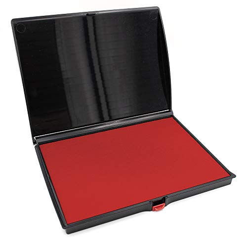 4 Stamps Felt Ink Pad - Extra Large Premium RED Ink Stamp Pad - 5