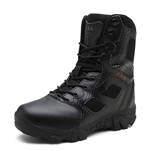 KARKEIN Military Tactical Side Zipper Lace Up Combat Boots Breathable Desert Outdoor Hiking Shoes for Men and Women black068 12
