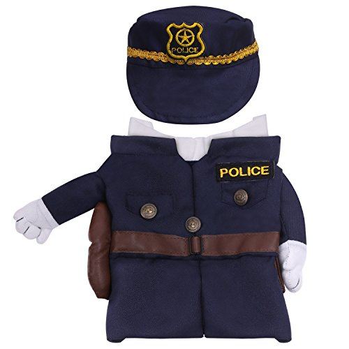 Pawaboo Pet Costume, Funny Pet Dog Cat Clothes Cool Policeman Uniform Outfit Jumpsuit Clothes with Policeman Hat for Halloween Christmas Dressing Up, Medium Size, -