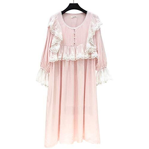 Nuevo Camisón Cuello Vestido Mmllse Algodón De Redondo Lujo Mujeres Clásico Pink Pijamas 4FgwgHx