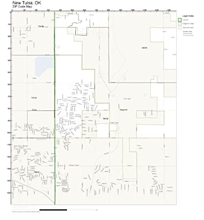 Amazon Com Zip Code Wall Map Of New Tulsa Ok Zip Code Map Not