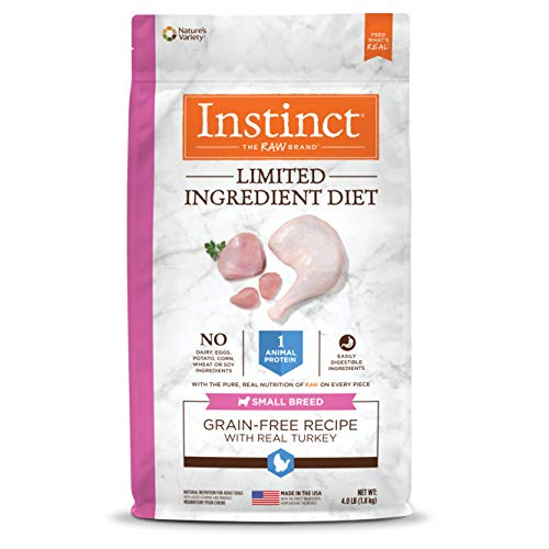 Instinct Limited Ingredient Diet Small Breed Grain Free Recipe with Real Turkey Natural Dry Dog Food by Nature's Variety, 4 lb. Bag