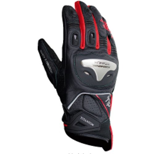 Komine GK-170 titanium sports glove Black / Red M 06-170