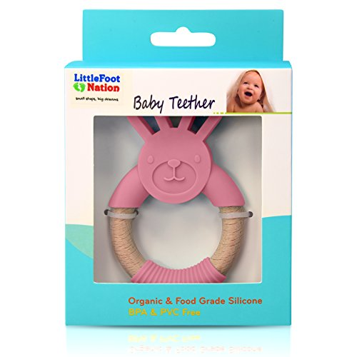 LittleFoot Nation Organic & Natural Bunny Rabbit Baby Teether Ring, 100% BPA Free Pure Food Grade Silicone & Beech Wood, Teething Pain Relief Toy for Toddlers & Infants (Pink)