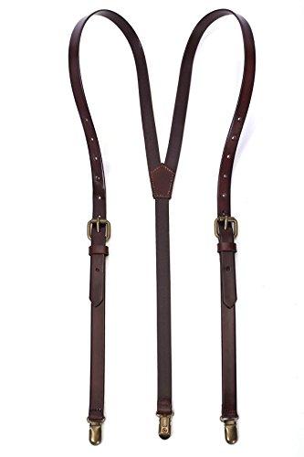 ROCKCOW Men's Leather Y-Back Adjustable Suspenders