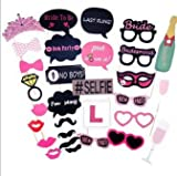 Bachelorette Photo Booth Party Kit by AG- Bridal Shower & Last Fling Party Decorations- 30 Pieces- Complete Set with Sturdy Sticks