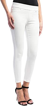 Liverpool Womens LM2111QY-W Sienna Pull-on Ankle in Slub Stretch Twill Jeans - White