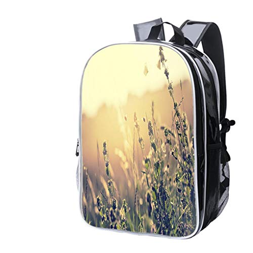 High-end Custom Laptop Backpack-Leisure Travel Backpack Bumblebees and Butterflies Together in Evening Sunlight Water Resistant-Anti Theft - Durable -Ultralight- Classic-School-Black