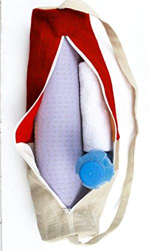 Bags Bag Burlap Mat Bag Red Handmade Accessories Tote Gym Beaute Backpack Sling Block In Color Yoga Exerci Contemporary Amore Natural Jute Ivory Design SxUHn8qtt