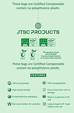 Amazon.com: Bolsas de basura compostables 100 ...