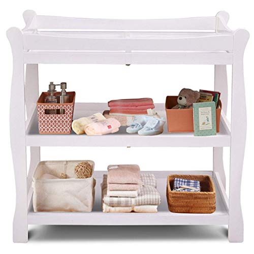 (Costzon Baby Changing Table, Infant Diaper Changing Table Organization, Newborn Nursery Station with Pad, Sleigh Style Nursery Dresser Changing Table with Hamper/ 2 Fixed Shelves (White))